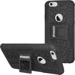 Amzer Rugged Hybrid Warrior kickStand Case Cover for iPhone 6 plus / 6S Plus - Black