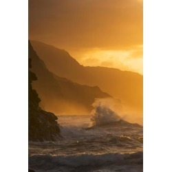 Posterazzi DPI12291526 Surf Breaks On The Na Pali Coast At Sunset - Kauai Hawaii United States of America Poster Print by Carl Johnson, 12 x 19