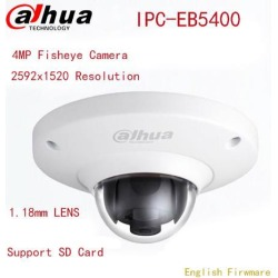 Dahua IPC-EB5400 Network Camera 4MP Support POE IK10 Fisheye IP Camera IK10 With Card Slot