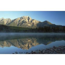 Posterazzi DPI1867044 Jasper National Park Alberta Canada - Pyramid Lake & Mountains Poster Print, 19 x 12