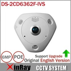 Hikvision 6MP Fish-Eye IP Camera DS-2CD6362F-IVS CCTV POE IR Outdoor Camera With Built in Mic & Speaker 360 PTZ View Vandal-proof