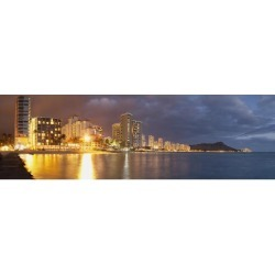 Posterazzi DPI12278709 Waikiki Beach Just After Sunset - Honolulu Oahu Hawaii United States of America Poster Print - 38 x 11 in.