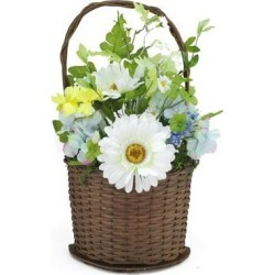 14.5' Blue and White Silk Mixed Flower Artificial Spring Floral Arrangement in Basket