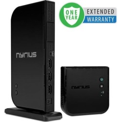Nyrius ARIES Home+ Wireless HDMI 2x Input Transmitter & Receiver for Streaming HD 1080p 3D Video and Digital Audio from Cable box, Satellite.