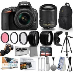 Nikon D5500 24MP DSLR Digital Camera AF-P 18-55mm + NIKKOR Lens 55-200mm + High Definition Professional 3 Piece Filter Kit + 64GB Memory SD Card.