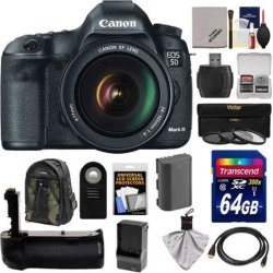 Canon EOS 5D Mark III Digital SLR Camera with EF 24-105mm L IS USM Lens with 64GB Card + Battery & Charger + Grip + Backpack Case + 3 Filters +.