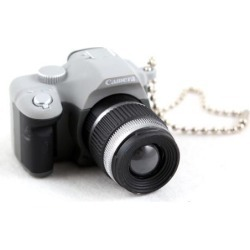 Recertified - Mini Gray SLR Camera Toy Keychain Keyring Flash Torch Ornament Decoration