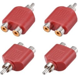 RCA Male to 2 RCA Female Connector Splitter Adapter Coupler Red 4Pcs for Stereo Audio Video AV TV Cable Convert