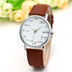 Fashion Quartz Watch Math Formula Round Dial PU Leather Casual Wrist Watches for Women and Men Coffee