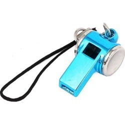 Unique Bargains Metal Whistle Pendant Lobster Clasp Nylon String Cell Phone Strap Sky Blue