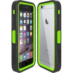 Amzer CRUSTA Rugged Case Black on Green Shell Tempered Glass with Holster for iPhone 6 Plus