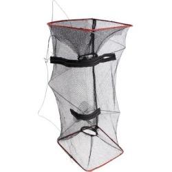 Unique Bargains 18.9' x 7.9' Nylon Metal Portable Fishing Landing Net Fish Angler Mesh Keepnet Crawfish Black