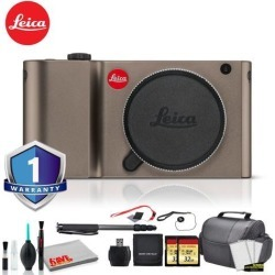 Leica TL Mirrorless Digital Camera (Titanium) RENEWED -Bundle with 2x 32GB Memory Card +Battery + LCD Screen Protectors + Deluxe 70' Monopod + White