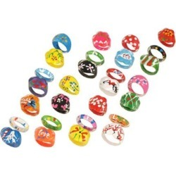 28 Pcs Plastic Flower Print Colored Finger Ring Toy