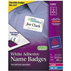 Avery 5395 Flexible Self-Adhesive Laser/Inkjet Name Badge Labels, 2-1/3 x 3-3/8, WE, 400/Bx