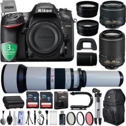 Nikon D7200 24.2MP 1080P DSLR Camera w/ Wi-Fi & GPS Ready + 5 Lens - 18 to 2600mm - 64GB - 30PC Kit - Nikon 18-55VR - Nikon AF-S 55-200VR - Opteka.