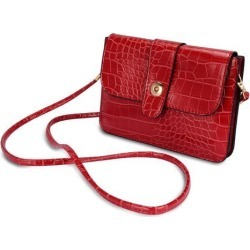 Horizontal Crocodile Themed Eco Leather Pouch w/ Shoulder Strap fits up to 6.1 x 3 inch Phones (Lipstick Red)