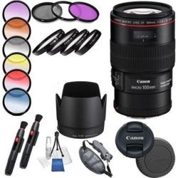 Canon EF 100mm f/2.8L Macro IS USM Lens ( Warranty) Professional Accessory Kit.