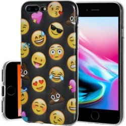 Soft Gel Clear Emoji TPU Skin Case - Mixed Emotions with Poop for iPhone 8 Plus