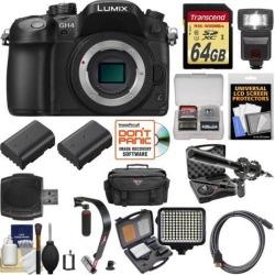 Panasonic Lumix DMC-GH4 4K Micro Four Thirds Digital Camera Body with 64GB Card + Backpack + Flash + Battery + Microphone + LED Light Kit