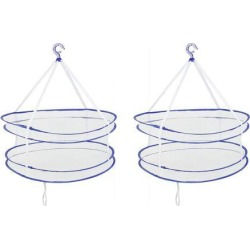 Unique Bargains 2 Pcs Laundry Sweater Drying Rack Double Folding Windproof Clothes Basket Dryer