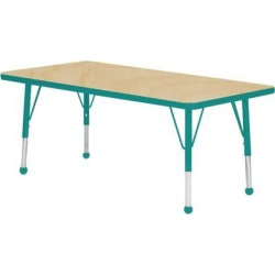 Mahar Manufacturing M3048TL-SB Rectangle Activity Table with Maple Top and Teal Edge, 30 x 48 in.