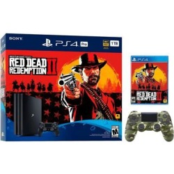 PlayStation 4 Pro 1TB Red Dead Redemption 2 Jet Black 4K HDR Gaming Console Bundle With an Extra Green Camouflage DualShock 4 Wireless Controller