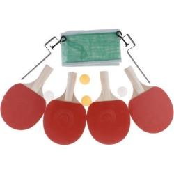 4pcs Table Tennis Ping Pong Racket Bat +4 Balls Net Set White Handle