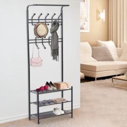 Metal Entryway Coat Shoe Rack Home Organizer 3 Tier Shelves 18 Hooks Black