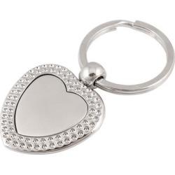 Unique Bargains Heart Shaped Dangling Alloy Flat Split Keyring Key Chain Silver Tone