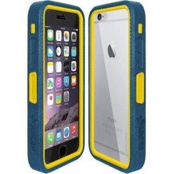 Amzer Blue on Yellow Embedded Tempered Glass Rugged Case With Holster for Silver/Gold Apple iPhone 6 Plus / 6S Plus