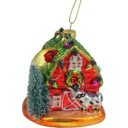 4' Festive Red Barn with Green Roof Glass Christmas Ornament