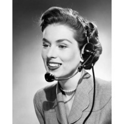 Posterazzi SAL2555778 Close-Up of a Businesswoman Wearing a Headset Poster Print - 18 x 24 in.
