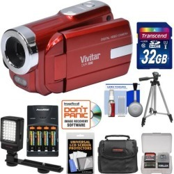 Vivitar DVR-508 HD Digital Video Camera Camcorder Kit Red