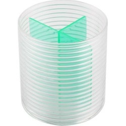 Unique BargainsOffice Plastic Cylinder Shaped 3 Compartments Pencil Cup Holder Organizer Green