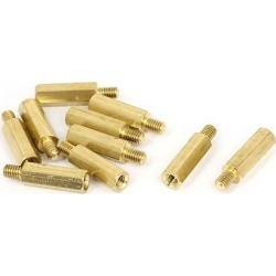 M4x18mm+6mm Male to Female Thread 0.7mm Pitch Brass Hex Standoff Spacer 10Pcs