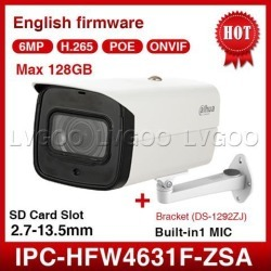 Dahua IPC-HFW4631F-ZSA 6MP Ip Camera 2.7-13.5mm Varifocal Motorized lens WDR H.265 PoE Built-in Mic and Mirco SD Card Slot Network Outdoor Bullet.