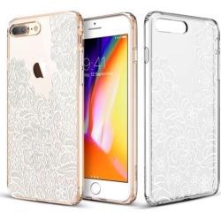iPhone 8 Plus Case, iPhone 7 Plus Case, ESR Clear [Floral Print Design] Cover with Flexible Bumper [Soft TPU Frame + Anti Scratch PC Back] Shock