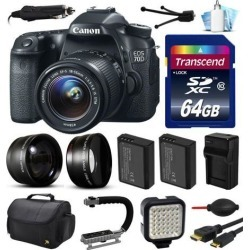 Canon EOS 70D DSLR SLR Digital Camera with 18-55mm Lens (64GB Essential Bundle)