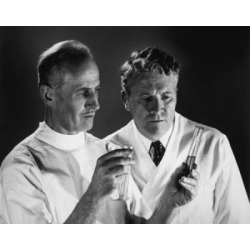 Posterazzi SAL2554458 Two Scientists Analyzing Chemicals in Two Test Tubes Poster Print - 18 x 24 in.