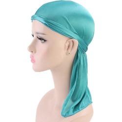 Bright Soft Silky Chemo Scarf Cap Muslim Turban Hat Durag Headwrap Blue