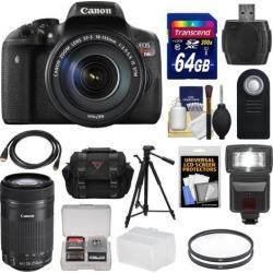 Canon EOS Rebel T6i Wi-Fi Digital SLR Camera & EF-S 18-135mm IS STM Lens with 55-250mm IS STM Lens + 64GB Card + Case + Filters + Tripod + Flash + Kit