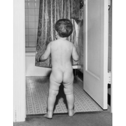 Posterazzi SAL2559094B Rear View of a Baby Standing at the Door of Bathroom Poster Print - 18 x 24 in.