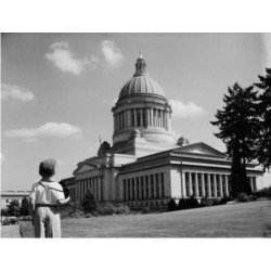 Posterazzi SAL255424479 USA Washington State Olympia Boy Looking at Capitol Building Poster Print - 18 x 24 in.