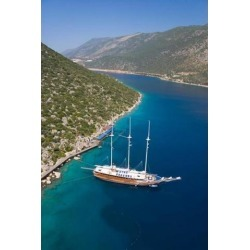 Posterazzi PDDAS37AKA1414 Turkish Yacht Boat Blue Cruise Fethiye Bay Turkey Poster Print by Ali Kabas - 18 x 26 in.