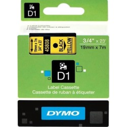 Dymo 45808 Black on Yellow D1 Label Tape 0.75' Width x 23 ft Length - 1 Each - Polyester - Thermal Transfer - Yellow