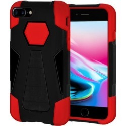 Amzer Dual Layer Hybrid KickStand Case - Black/ Red for iPhone 8 Plus