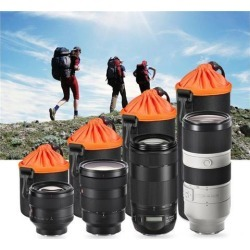 Neoprene Pouch DSLR Camera Lens Protective Bag Thicken Waterproof Soft Case Bag Drawstring Locking Camera Lens Bag Case black & orange XL