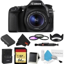 Canon EOS 80D DSLR Camera with 18-55mm Lens Bundle w/ 3 Piece Filter & Memory Kit