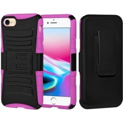 Rugged TUFF Hybrid Armor Hard Defender Case with Holster - Black/ Hot Pink for iPhone 8